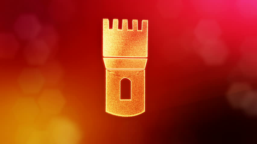 icon of bank. Background made of glow particles as vitrtual hologram. 3D seamless animation with depth of field, bokeh and copy space. Red version 3