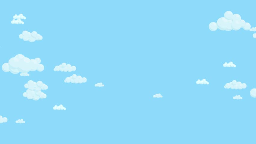 Blue sky full of clouds moving right to left. Cartoon sky animated background. Flat animation.