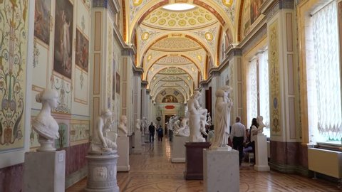 St. Petersburg, Peterhof, Russia, June 2018: Winter Palace. The halls of state Hermitage Museum in St. Petersburg. Hermitage Museum, is the greatest museums in the world, founded in 1764.