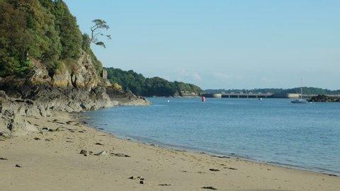 High tide on the beach of  the Corbiere Bay, Atlantic Ocean, France, Saint Malo