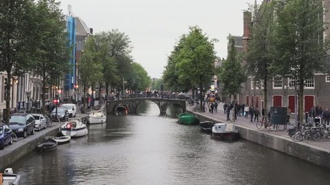 Long Canal in Red Light District Amsterdam Day