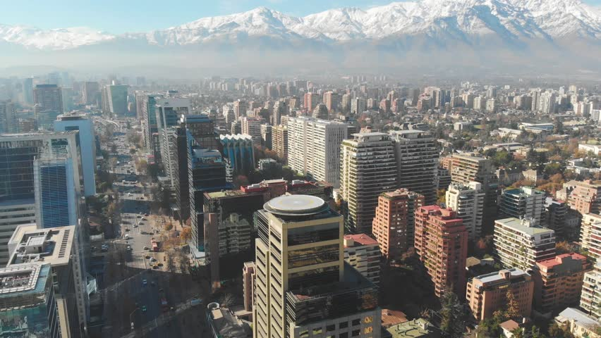 Cityscape of Santiago de Chile in 4K with the Andes Mountains in the background