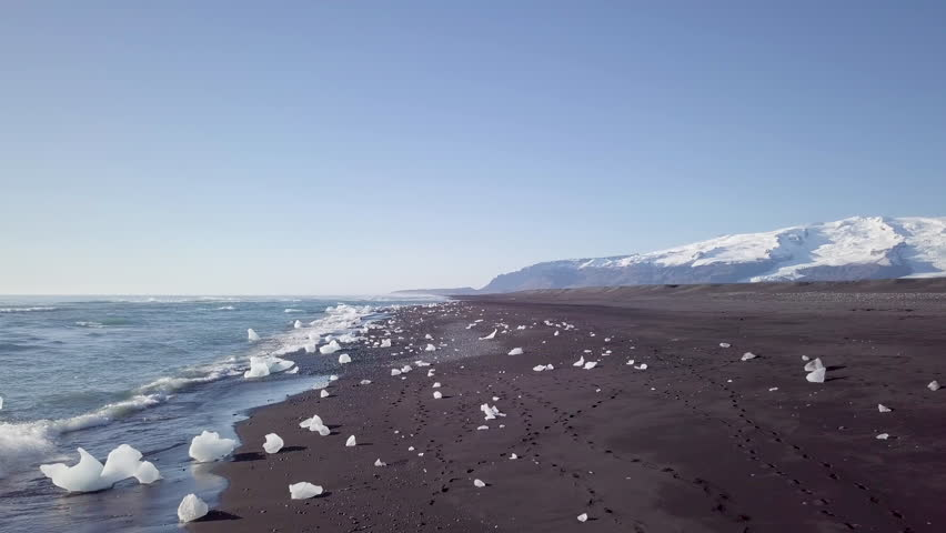 Aerial footage over diamond beach, Iceland | Shutterstock HD Video #1012550885