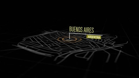 Locations Buenos Aires, Argentina. Animation of marking a point in the city of Buenos Aires, Argentina. Location of the city, large shopping center. Video in 4K with resolution of 3840x2160.