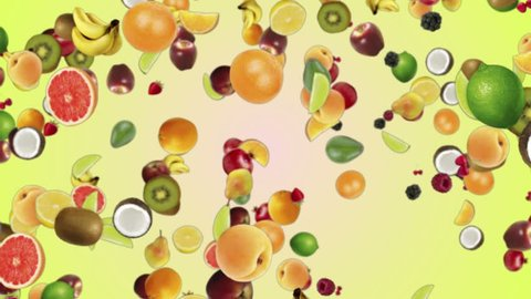 Falling FRUITS Background, Animation, Loop, with Alpha Channel, 4k