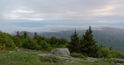 Fog Passing Over Jordan Ridge Viewed From Cadillac Mountain In Acadia National Park, Maine