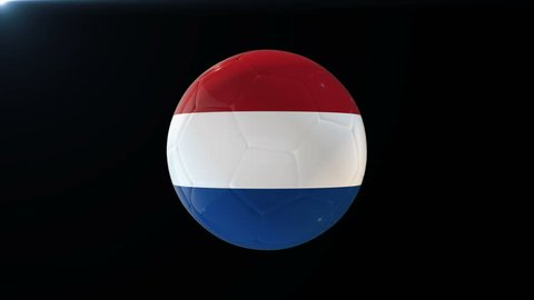 Football with flag of Netherlands, soccer ball with Holland flag, sports equipment rotating on black background, 3D animation