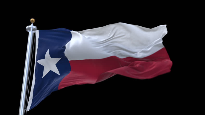Seamless Texas Flag with flagpole waving in wind.A fully digital rendering,The animation loops at 20 seconds.flag 3D animation with alpha channel included. cg_06217_4k