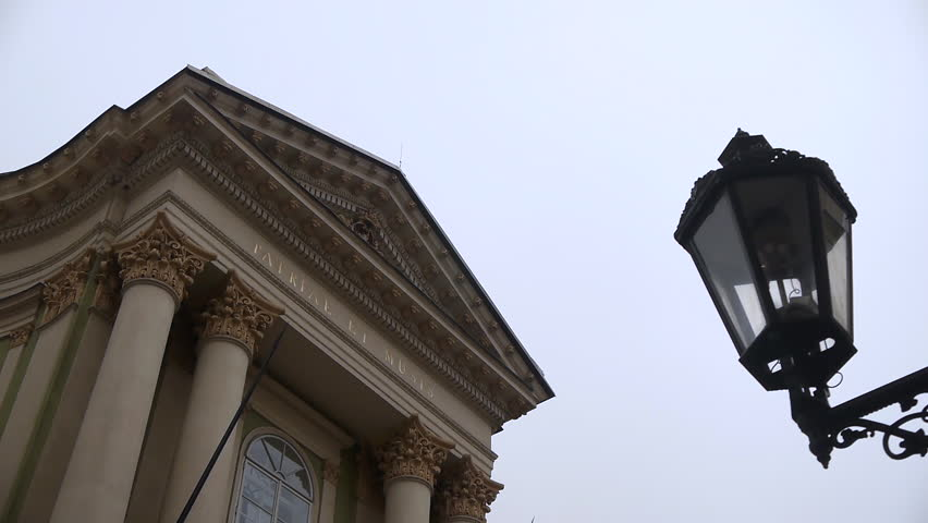 Close up shot of the Mozart Opera House in Prague on an overcast rainy cloudy day LOW ANGLE LOOKING UP