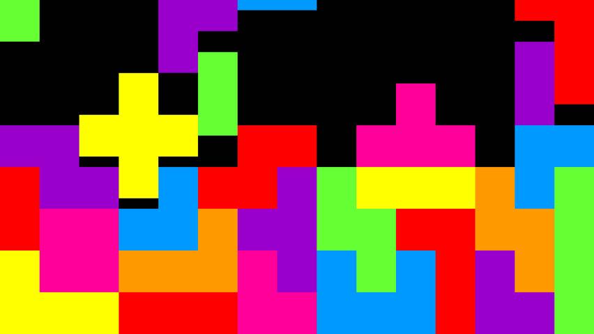 Tetris animation on black background.