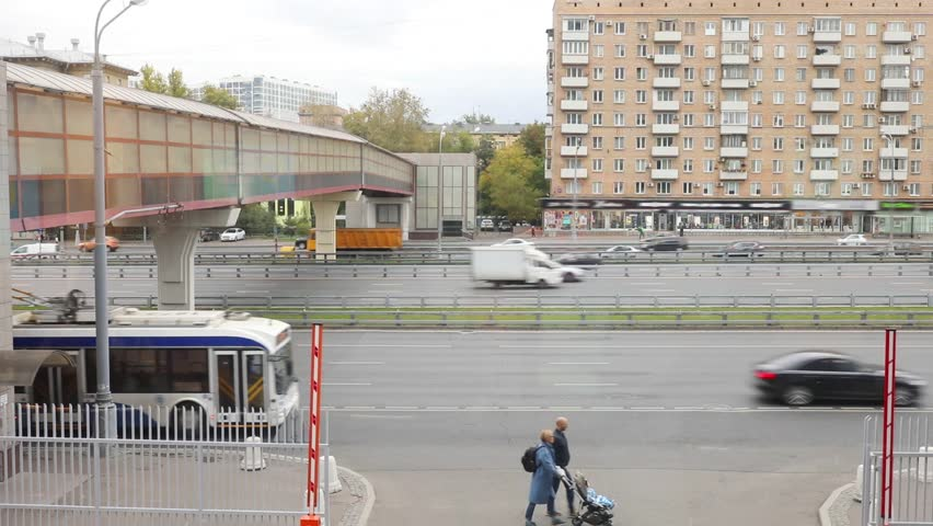 Cars, people, overpass on Leningradsky prospect in Moscow, Russia