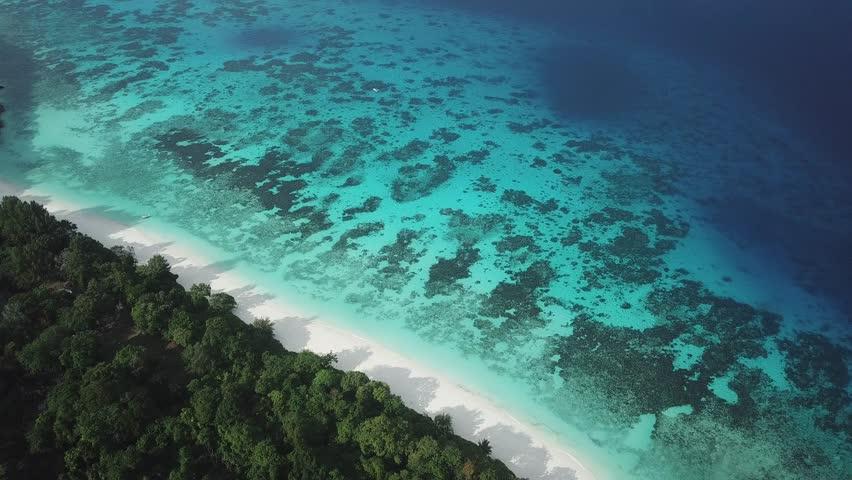 Koh Tachai beach Similan Islands Thailand aerial footage  | Shutterstock HD Video #1012655825