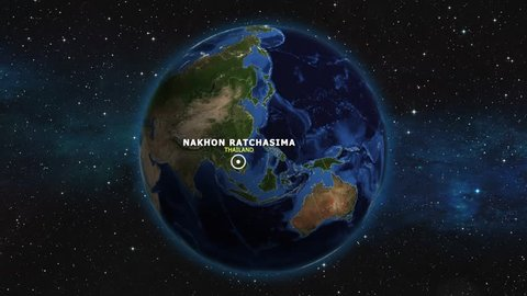 THAILAND NAKHON RATCHASIMA ZOOM IN FROM SPACE