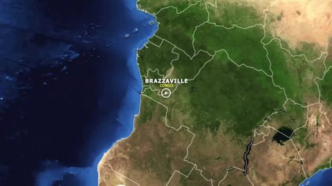 CONGO BRAZZAVILLE ZOOM IN FROM SPACE