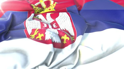 Serbia flag.Flag of Serbia Beautiful 3d animation of Serbia flag in loop mode.