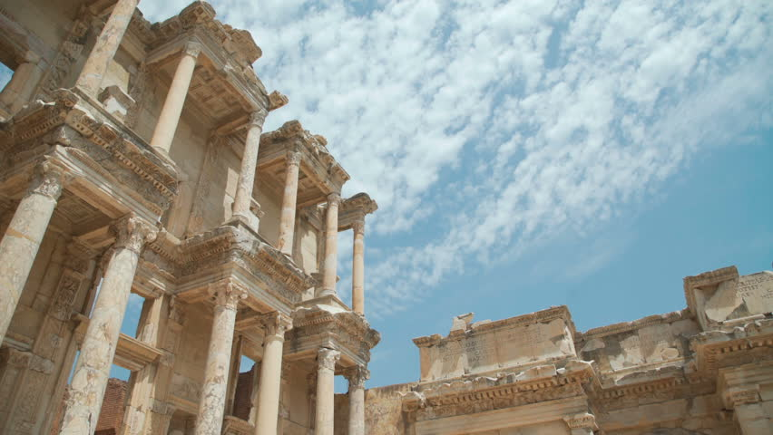 Celsus Library in Ephesus (Efes) - ancient Greek city in present day Izmir, Turkey. 4k | Shutterstock HD Video #1012799555