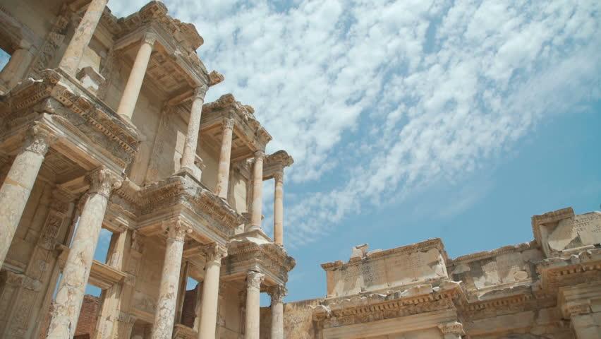 Celsus Library in Ephesus (Efes) - ancient Greek city in present day Izmir, Turkey. 4k