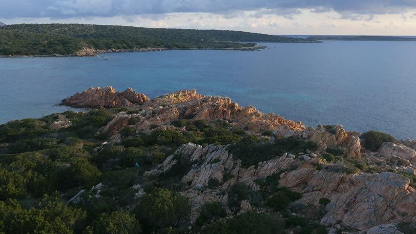Aerial Drone footage view of island La Maddalena Sassari Sardinia Sardegna in Italy