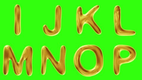 Alphabet from gold isolated on green background. The letter I J K L M N O P . alpha channel 3d rendering 4K