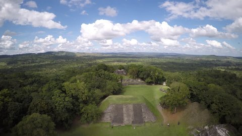 Flying Over The Ancient Mayan Ruins of Altun Ha in Belize