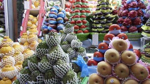 Sao Paulo, Brazil, June 16, 2018. sellers work in the fruit kiosk in the famous Municipal Market (Mercado Municipal) in downtown Sao Paulo.