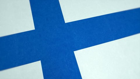Republic of Finland. Stockfootage of National Flag of Finnland - Animated finnish Country Flag - Windy Flag Motion Background