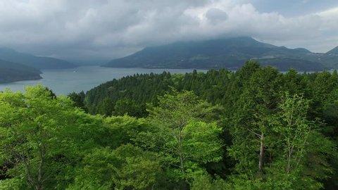 Aerial Drone On Tropical Hakone Town And Lake Ashi Japan