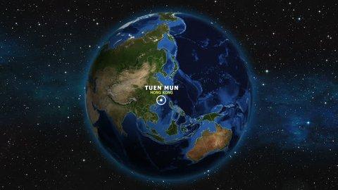 HONG KONG TUEN MUN ZOOM IN FROM SPACE