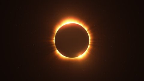 Rotating Bright Twin Flared Solar Eclipse with Light Rays over Starry Sky Loop
