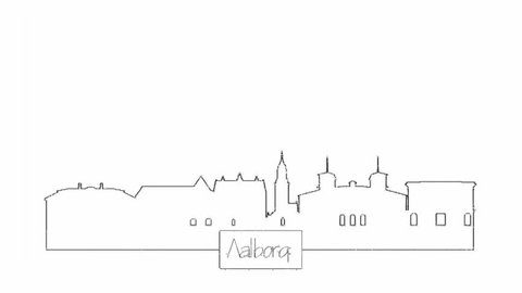 Self drawing animation of continuous one line drawing of isolated vector object - city urban skyline outline of Aalborg Denmark