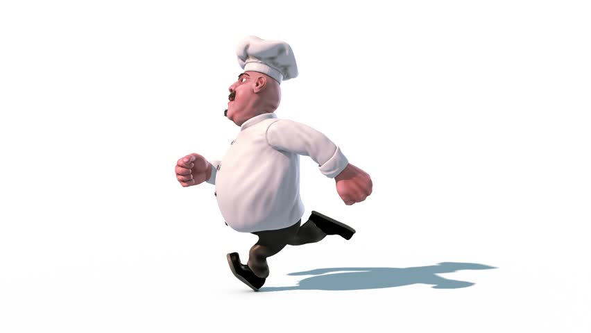 Fun Chef Run Alpha Matte Side 3D Rendering Animation