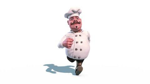 Fun Chef Run Alpha Matte Front 3D Rendering Animation