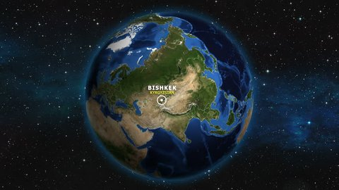 KYRGYZSTAN BISHKEK ZOOM IN FROM SPACE