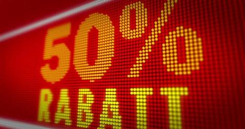120a50260 Verkauf (sale in german) 50% rabatt title on big LED display in seamless