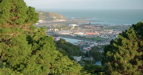 Slow pan of Wellington Airport and Lyall Bay New Zealand