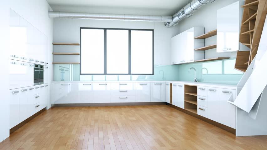 Building Up Modern Kitchen Interior Stock Footage Video 100