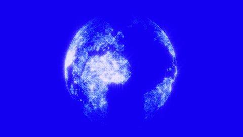 Futuristic Earth Hologram - Blue Screen.