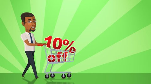 Cartoon Situation Mike Businessman. Black Man Character Walk with Shopping Cart with 10 Percent Animation Alpha Channel