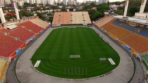 Football around the world,  Pacaembu Stadium Sao Paulo Brazil   Video made day 01/23/2017  Name: Municipal Paulo Machado de Carvalho stadium Filming with drone