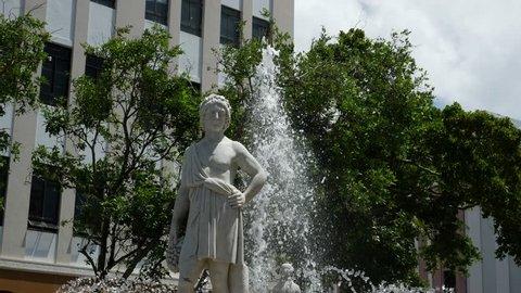 San Juan City Square in Puerto Rico called Plaza de Armas - the Fountain of Seasons - Autum Statue - 4k unmodified camera native file