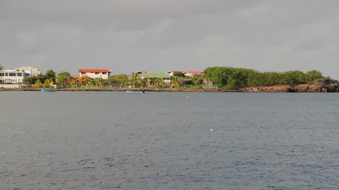 Long shot of Gallows Bay, Charlestown, island of Nevis in the Caribbean
