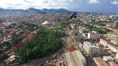 Drone flyover city of Yaoundé park at the center of town