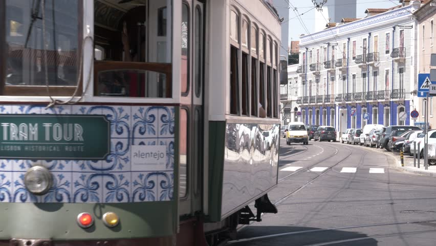 Tram Tour In Lisbon, Portugal. LISBON, PORTUGAL - 23 JUNE 2018; Trams in Lisbon are the best methods of transport for getting around the city. Also one of the most important tourist attractions.