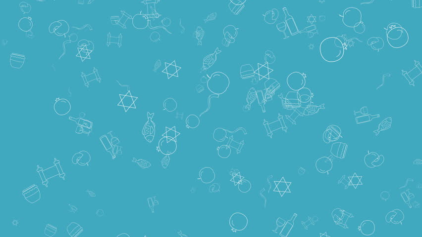 Rosh Hashanah holiday flat design animation background with traditional outline icon symbols. loop with alpha channel. | Shutterstock HD Video #1013094575