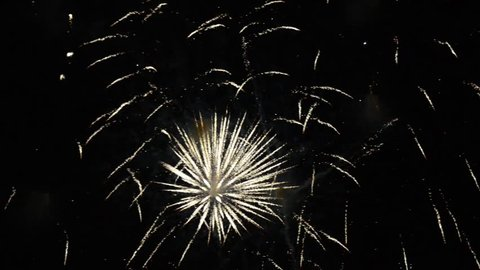 Fireworks show. Festival and celebration. Using spectacular Pyrotechnics for a New Year eve. Firework display