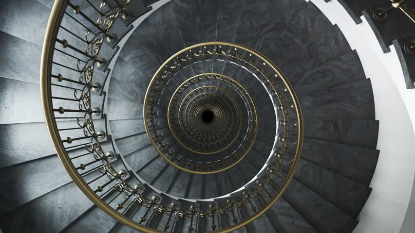 03529 Dark glamour spiral staircase endless loop. Camera moving down. | Shutterstock HD Video #1013156645