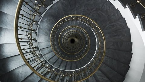 03529 Dark glamour spiral staircase endless loop. Camera moving down.