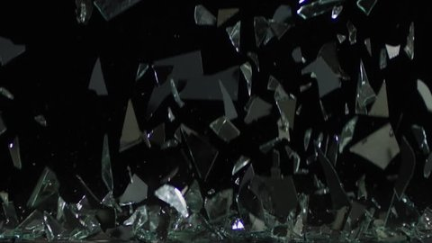 Broken Glass Falling Background in slow motion with shards