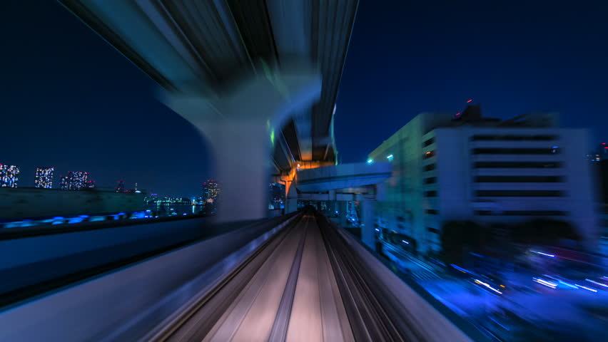 4K.Time lapse automatic train fast speed at Tokyo city of Japan asia is a famous place in Japan Asia Odaiba line | Shutterstock HD Video #1013279015