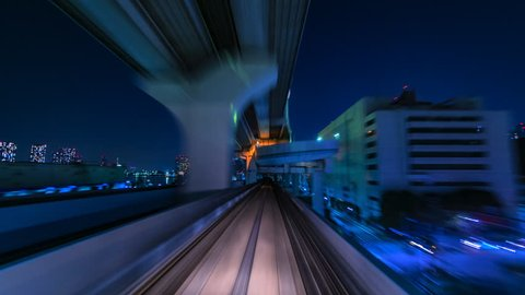 4K.Time lapse automatic train fast speed at Tokyo city of Japan